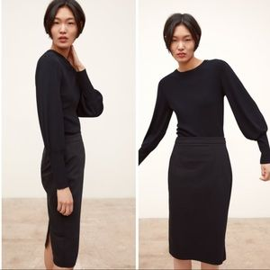 Zara Basic Black Midi Skirt